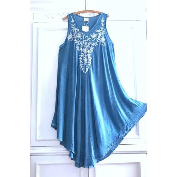 4e2816f21d Beach Dresses | Boho Chambray Denim Blue White Embroidered Dress ...